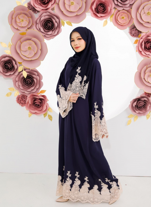 Luna Lace Abaya Dark Blue