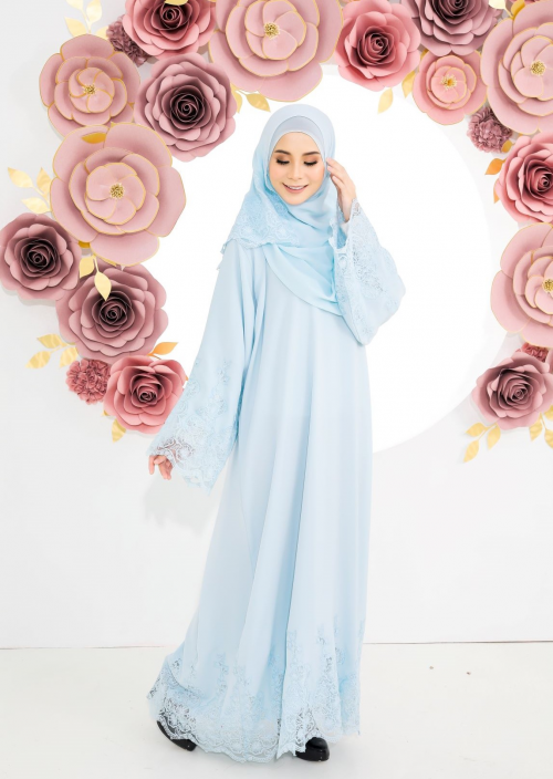 Luna Lace Abaya Light Blue
