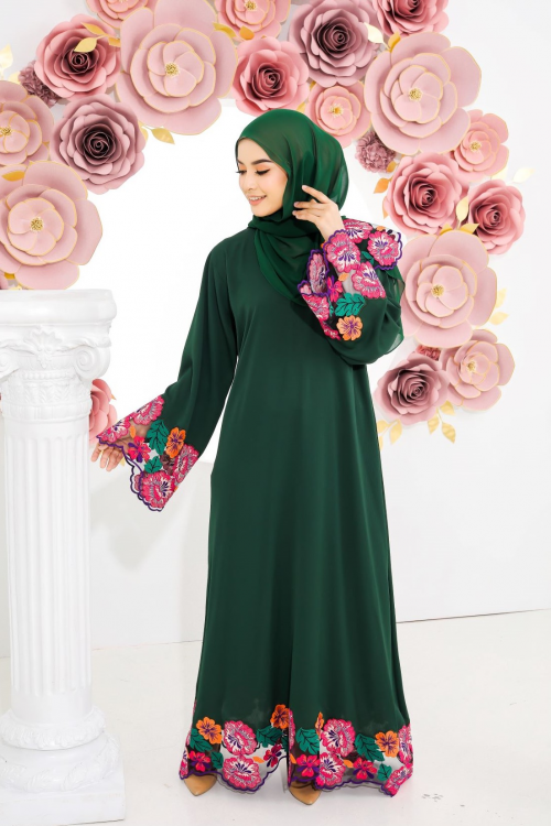 Taqia Lace Abaya Emerald Green