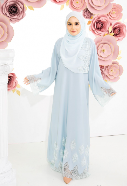 Juliette Lace Abaya Light Blue