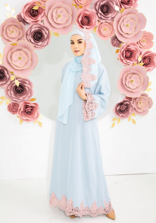 Aria Rose Lace Abaya Light Blue