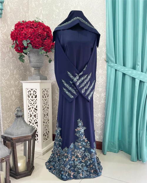 Mariposa Lace Abaya Dark Blue
