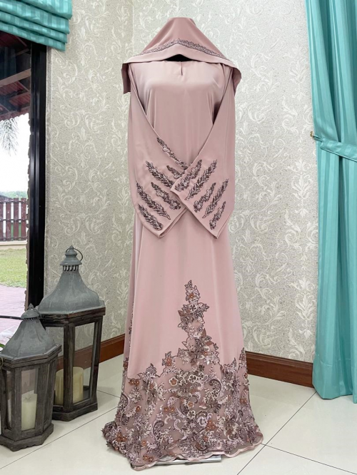 Mariposa Lace Abaya Brown