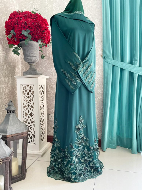 Mariposa Lace Abaya Emerald Green