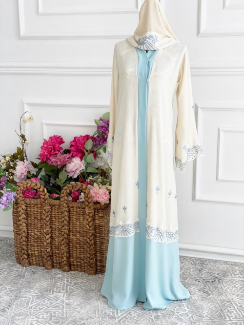 Open Dove Abaya Blue