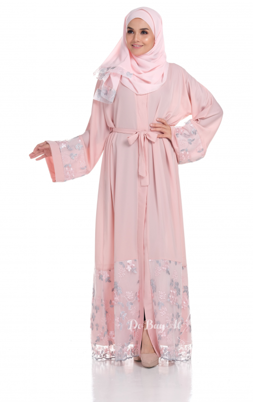 Ready Stocks Sakira Abaya Pink Cardigan